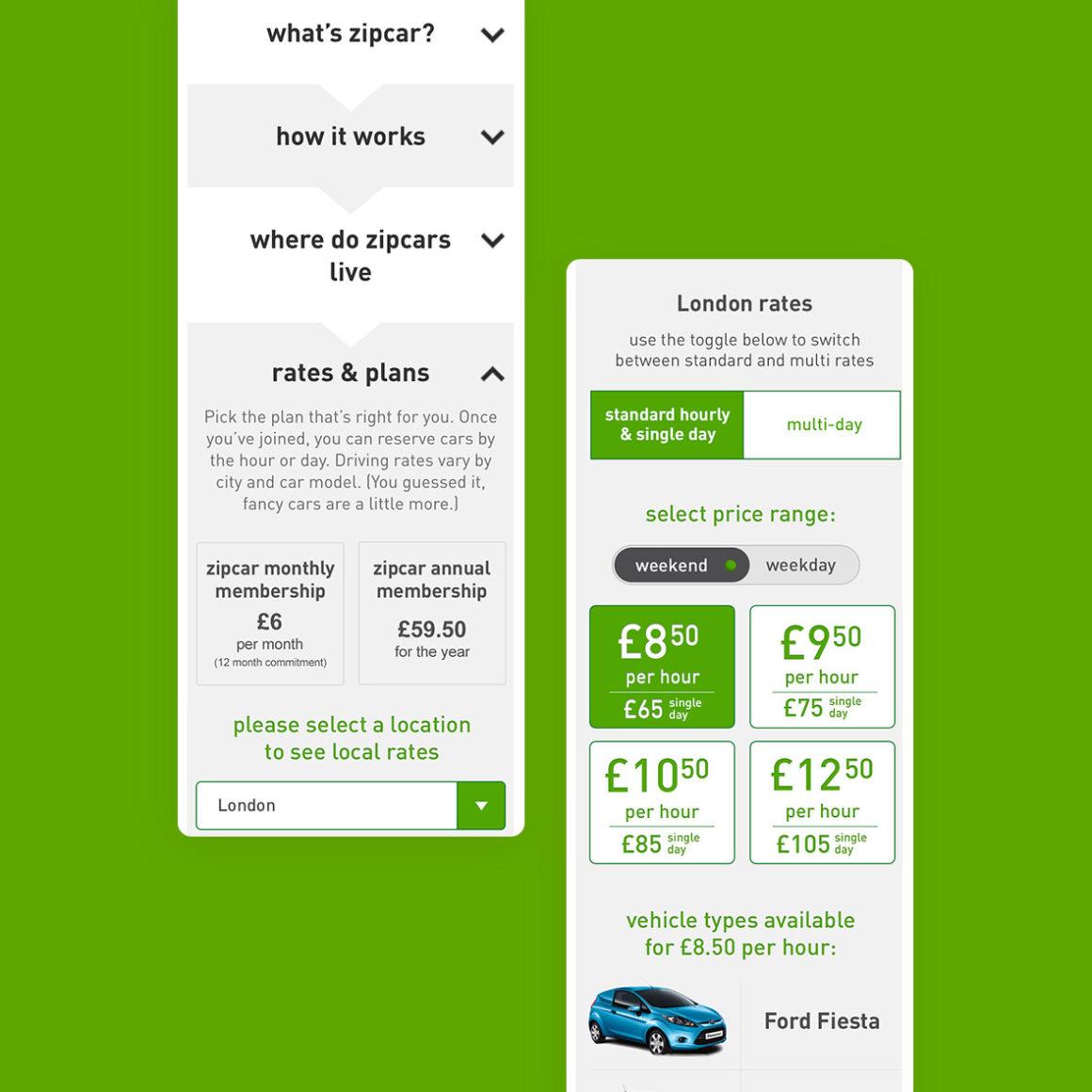 Zipcar - UI and UX Design | Stuart J  Williams