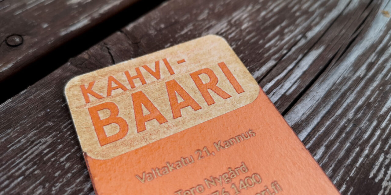 Kahvibaari business card design with focus on logomark